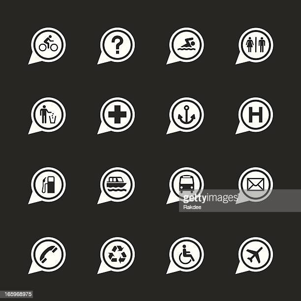 Map Sign Icons Set 1 - White Series | EPS10