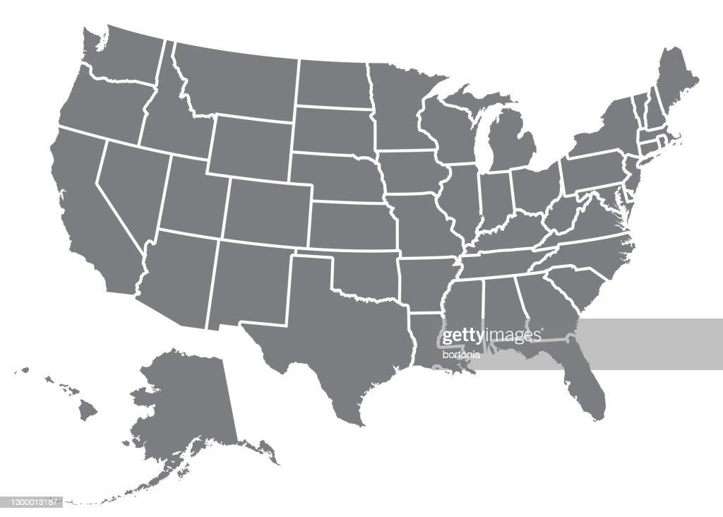 USA Kaart Silhouet : Stockillustraties