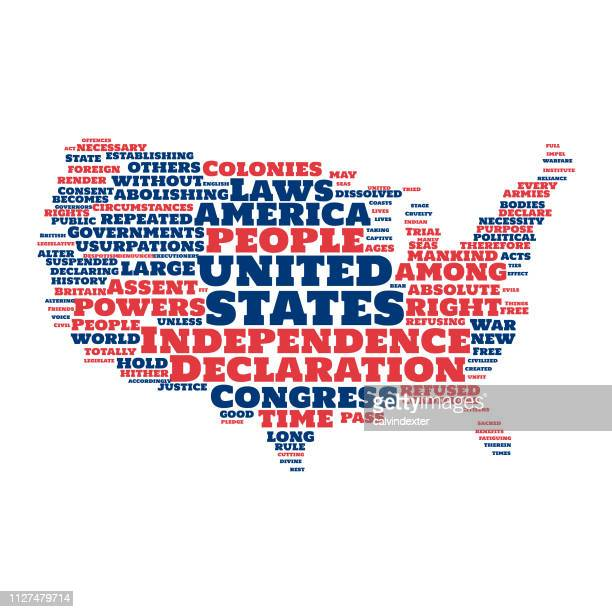 usa map silhouette word cloud declaration of independence - bill of rights stock illustrations