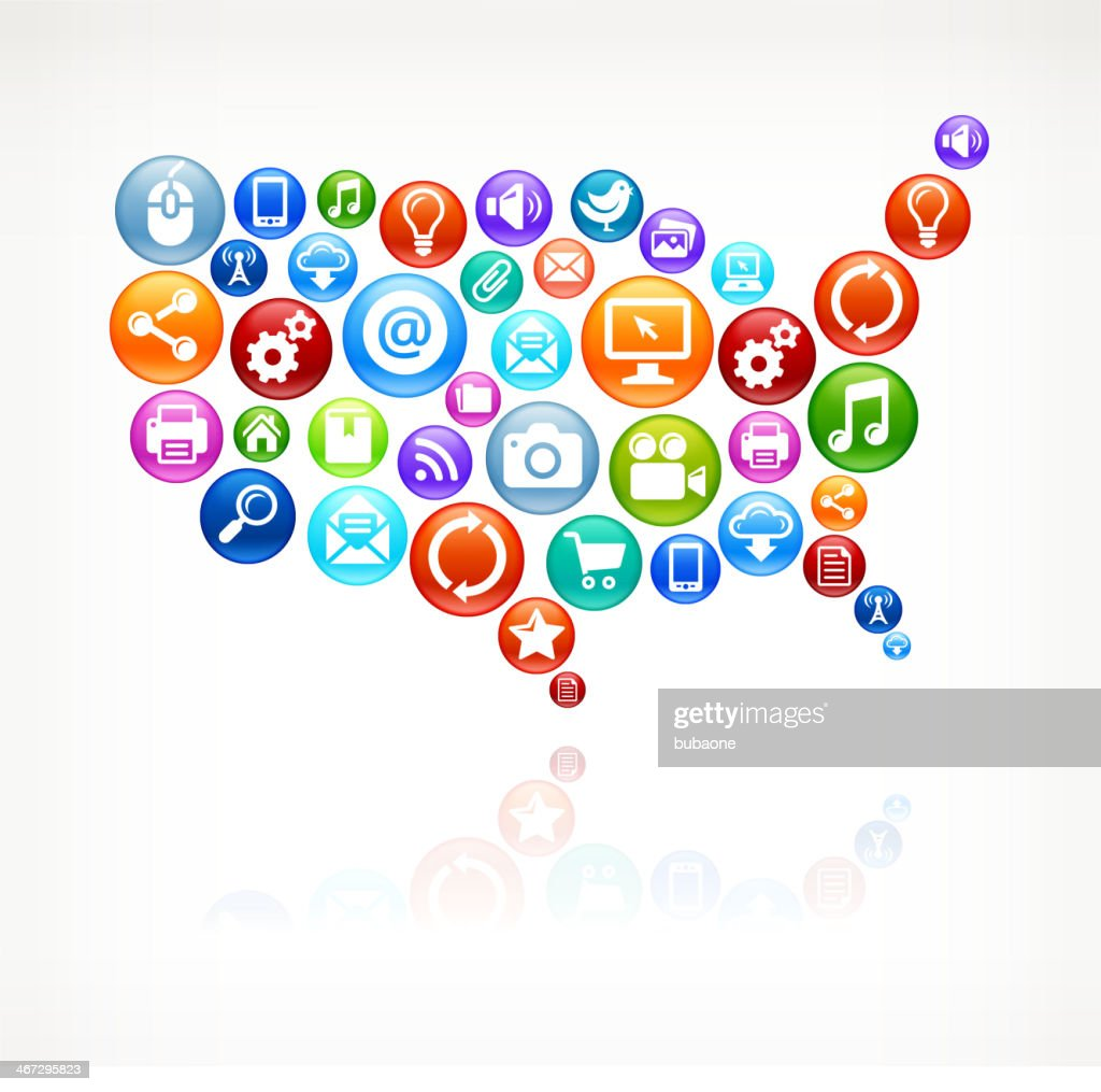 Usa Map Social Networking And Internet Royalty Free Vector Arts ...