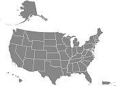 USA map states blank printable
