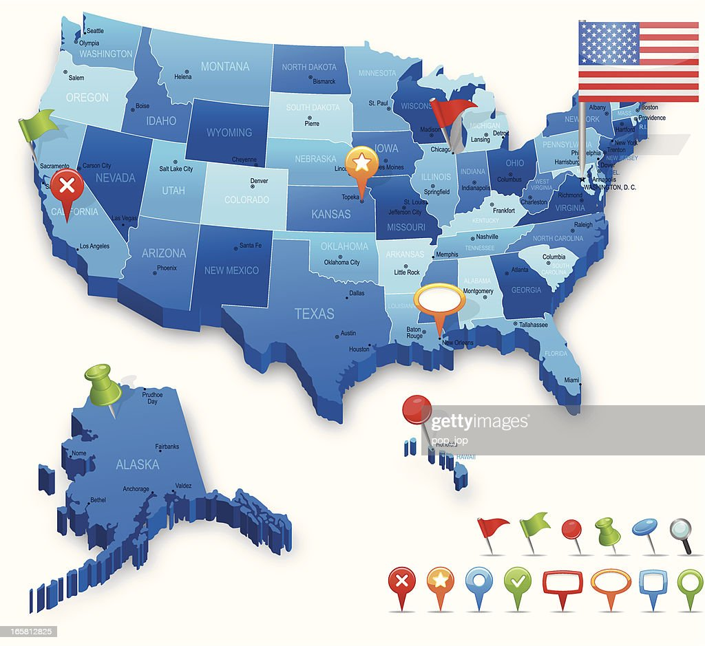 USA 3D map - states, cities, flag and navigation icons