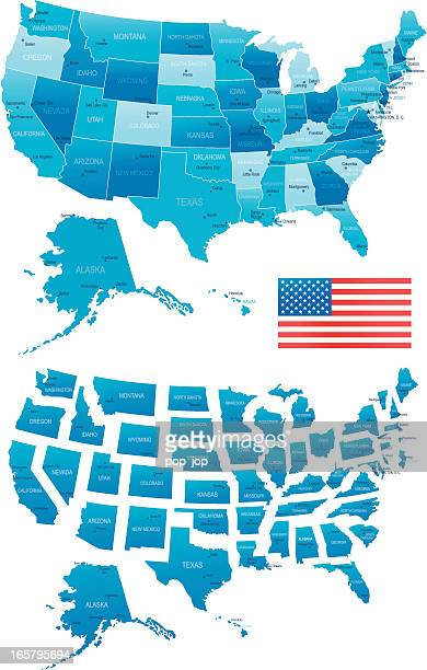 USA Karte-Staaten, Städte, Flagge