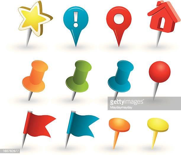 Map tacks and pins