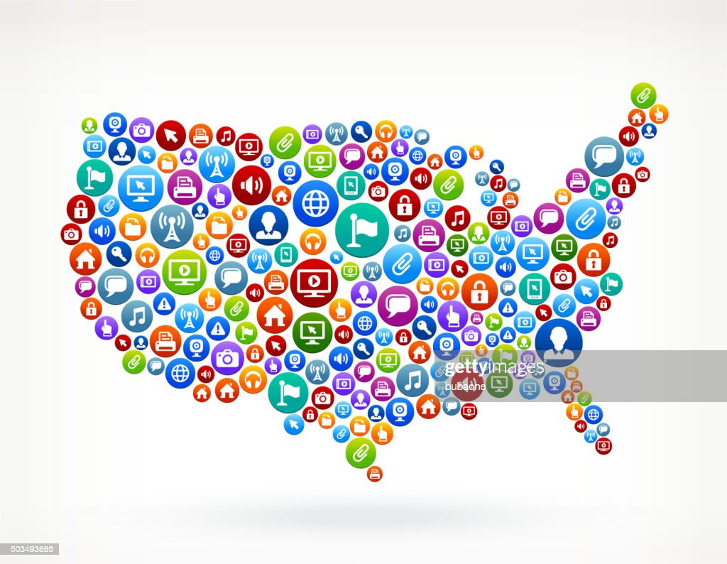 Usa Map Technology Internet And Web Media Icon Pattern Vector Art ...