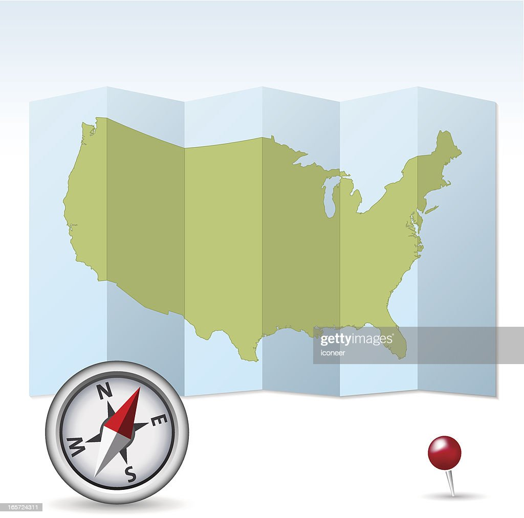 Usa Map Unfolded With Compass Vector Art Getty Images - Usa map with compass