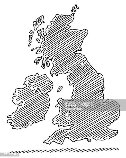 map united kingdom and ireland drawing - england stock illustrations