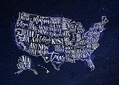 Map USA vintage blue