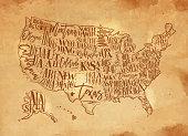 Map USA vintage chalk yellow