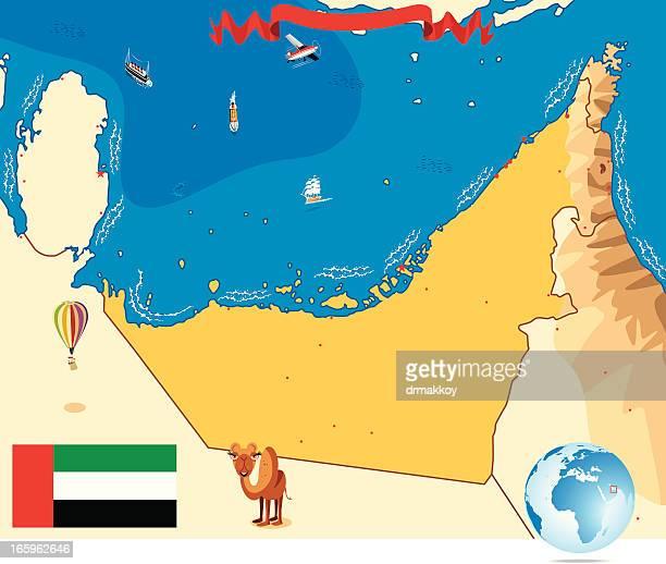 ilustrações, clipart, desenhos animados e ícones de mapa dos emirados árabes unidos - qatar
