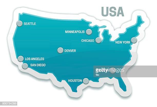 ilustrações, clipart, desenhos animados e ícones de estados unidos mapa - atlanta