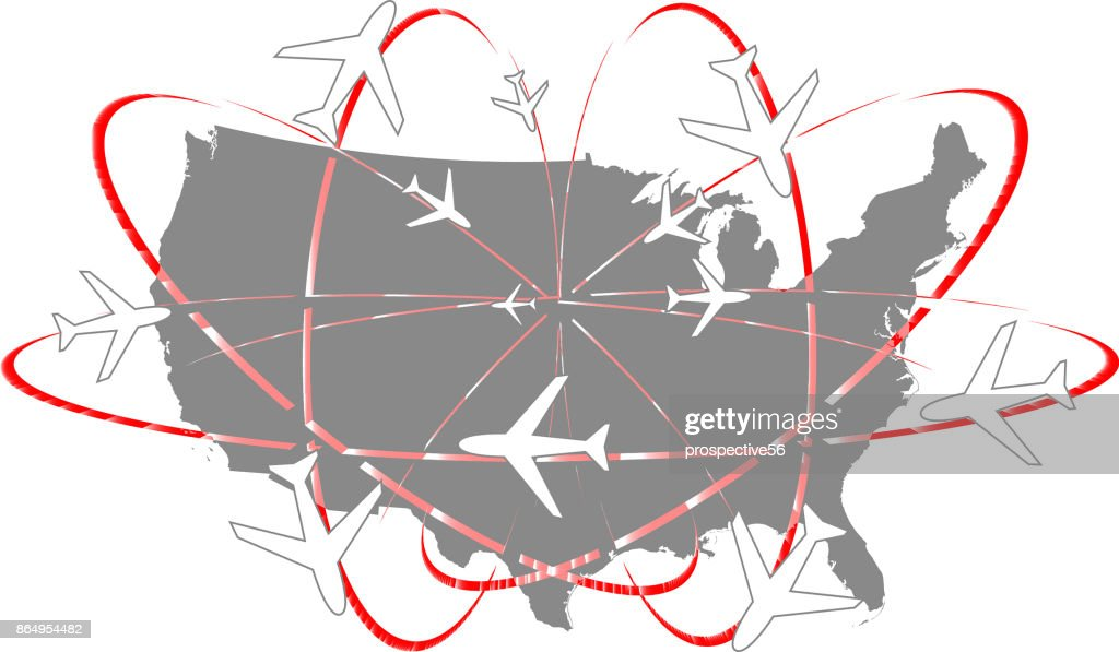 USA map vector outline abstract illustration gray background surrounded by creative networks of airplane paths