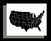 USA map vector outline illustration in an abstract black and white background