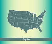 USA map vector outline illustration with highlighted state of Maryland in blue background