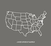 US map vector outlline illustration in gray background