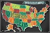 USA Map Vintage Blackboard 2D