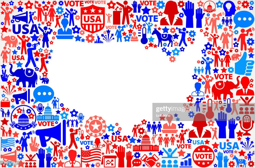 Usa Map Vote And Elections Usa Patriotic Icon Pattern Vector Art