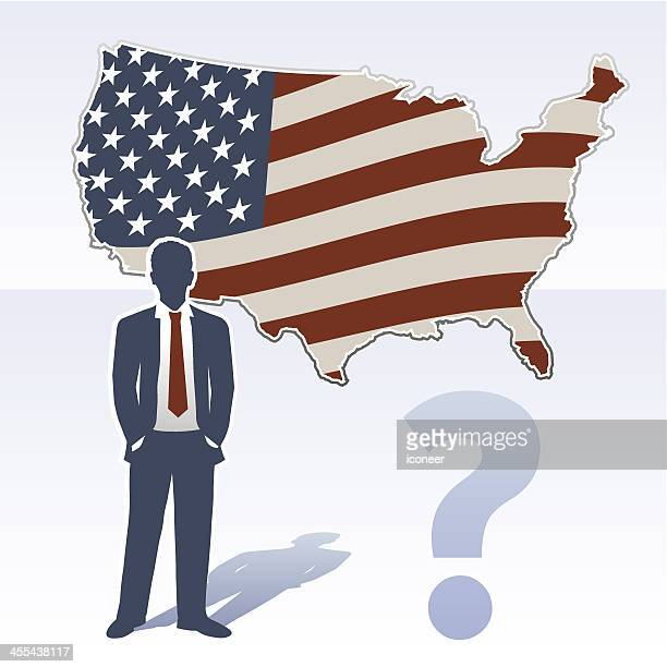 USA map with business man and question mark