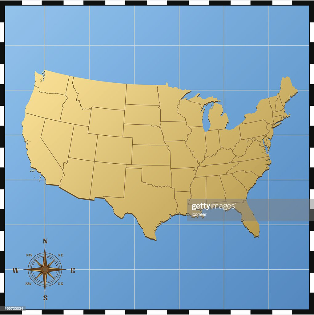 Usa Map With Compass Rose Vector Art Getty Images - Us map with compass