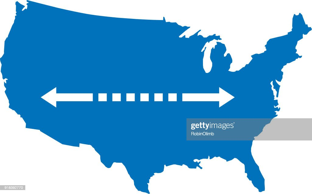 USA Map With Double Arrow : stock illustration