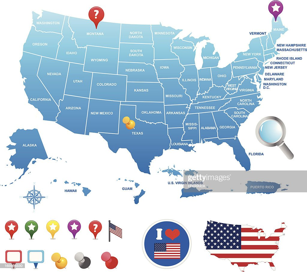 USA map with its territories and GPS pin icons : stock illustration