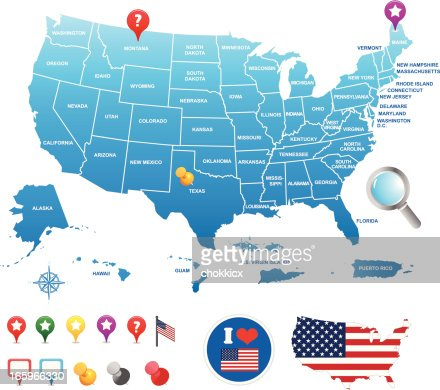 Us map with its territories and pin icons vector art getty images keywords sciox Choice Image