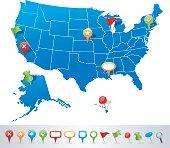 USA map with navigation icons