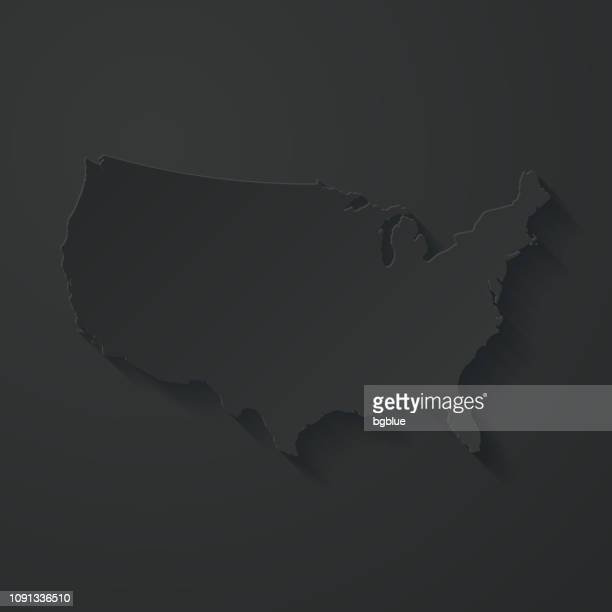 usa map with paper cut effect on black background - international border stock illustrations