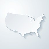 USA map with paper cut effect on blank background