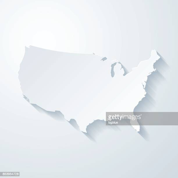 usa map with paper cut effect on blank background - werkzeug stock illustrations
