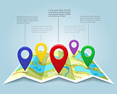 Map with pin markers vector illustration. Cartography location pointers