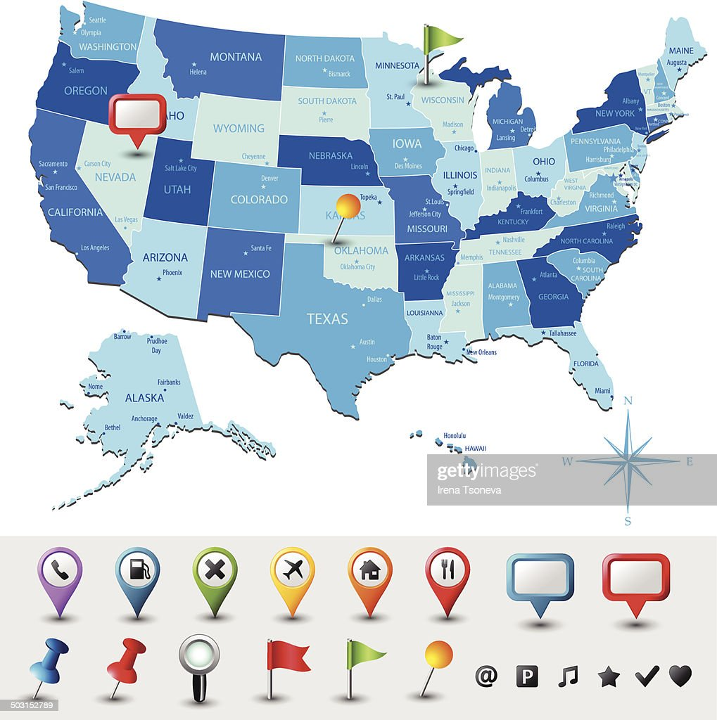 Map Of Usa With Pins.Usa Map With Pins Highly Detailed Vector Art Getty Images