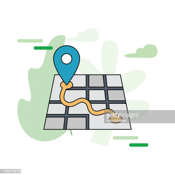 map with pointer icon - pointer stick stock illustrations