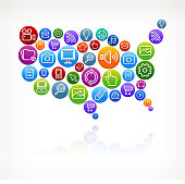 USA Map with Social Networking & Internet Color Buttons