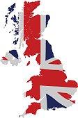 UK map with Union Jack