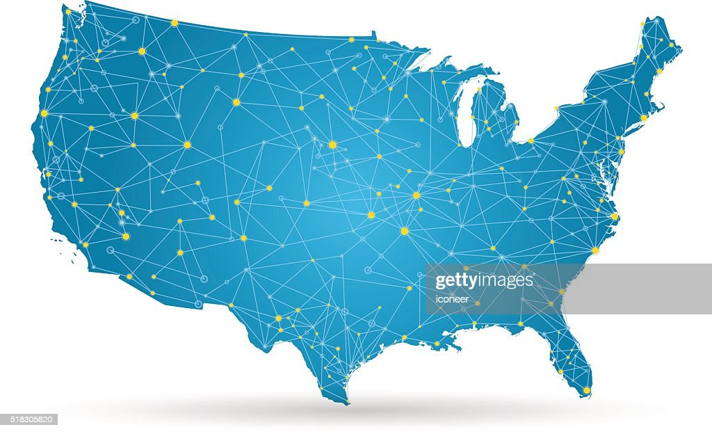 USA map with yellow cities and connections on white background