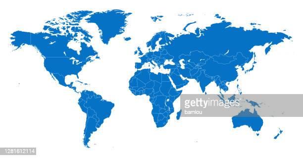 stockillustraties, clipart, cartoons en iconen met kaart wereld scheiden landen blauw met witte overzicht - noord & zuid amerika