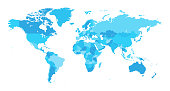 Map World Seperate Countries Light Blue