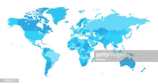 illustrazioni stock, clip art, cartoni animati e icone di tendenza di map world seperate countries light blue - pianeta terra