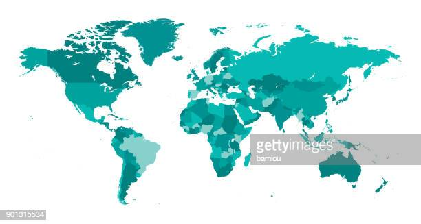 illustrazioni stock, clip art, cartoni animati e icone di tendenza di map world seperate countries turquoise - europa continente