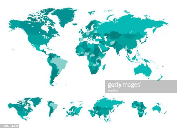 map world seperate countries turquoise - latin america stock illustrations, clip art, cartoons, & icons
