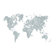map world texture wood hand drawn white on gray background. vector