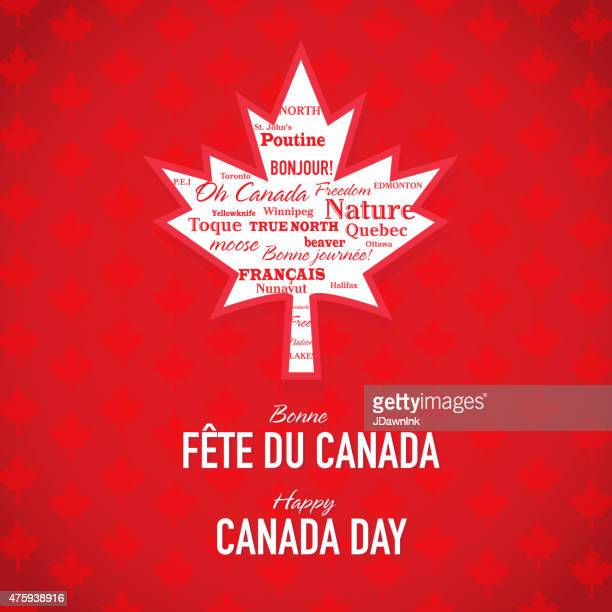 maple leaf happy canada day celebration bilingual greeting design template - canada day stock illustrations