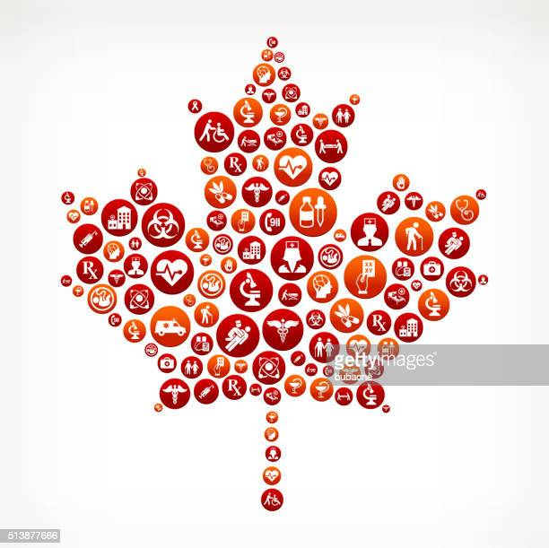 maple leaf healthcare and medical red button pattern - canadian flag stock illustrations, clip art, cartoons, & icons