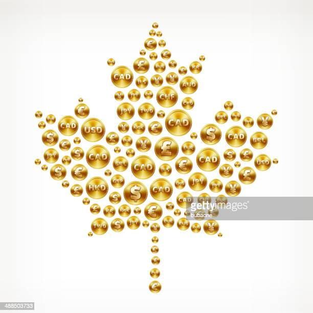 maple leaf on gold coin buttons - millionnaire stock illustrations, clip art, cartoons, & icons