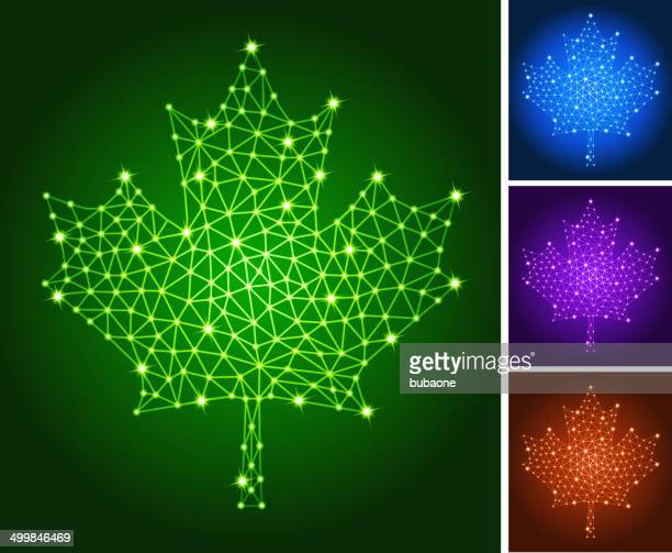 maple leaf on triangular nodes connection structure vector art - canadian flag stock illustrations, clip art, cartoons, & icons