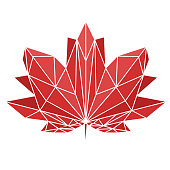 A maple leaf painted in polygonal technique. National sign of Canada. Vector image for design t-shirts.