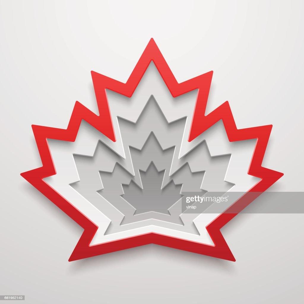 Maple leaf Paper art shape. Canadian symbol vector illustration. Concept design.