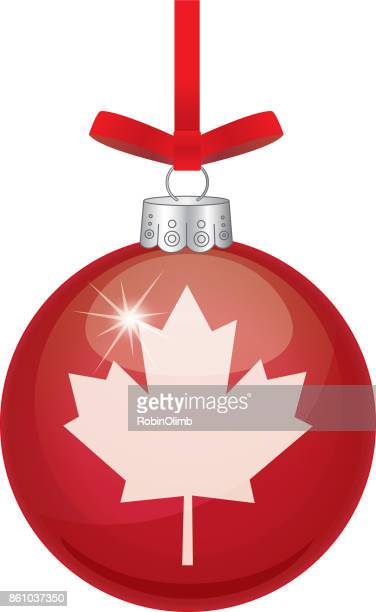 maple leaf red christmas ornament - northeastern england stock illustrations, clip art, cartoons, & icons