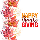 Maple Leaf Vector Watercolor and Ink Seamless Pattern with Happy Thanksgiving Greeting